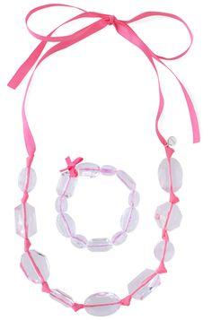 Little Girls Collection | Translucent Beads on Pink Ribbon | Izzie Necklace & Bracelet Set | Stella & Dot