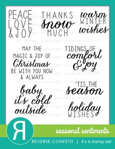 """Reverse Confetti stamp set (Nov 2014): Seasonal Sentiments. Set of 8 stamps SIZE REFERENCE: """"May The Magic…"""" sentiment 2.08"""" x 1.6""""   """"Warm Winter Wishes"""" sentiment 1.5"""" x 1.2"""""""