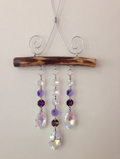 3 Strand AB and Purple Full Lead Crystal Suncatcher 3 Strang AB und Purple Full Lead Crystal Suncatcher