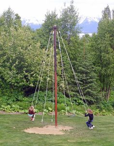 Bear Creek Winery, Homer 17 is part of Diy playground - Shown here Maypole Swing Kids Outdoor Play, Kids Play Area, Backyard For Kids, Outdoor Fun, Backyard Patio, Backyard Landscaping, Play Areas, Landscaping Ideas, Outdoor Play Spaces