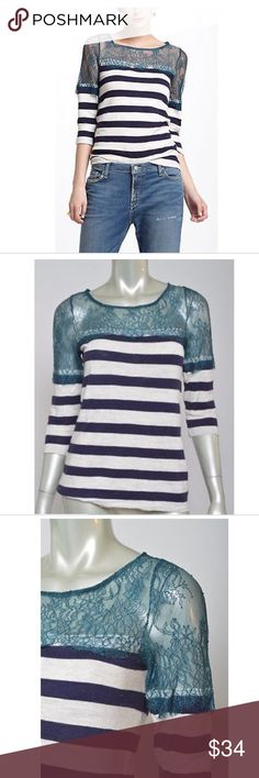 Deletta Anthropologie Lace Lines Striped Knit Top Excellent condition. Size Small. Total length is 26 inches. Bust is 32 inches. 🌸 Deletta Tops Blouses