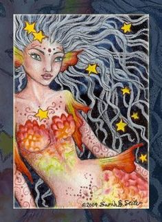 Sarah B. Seiter - watercolor & colored pencils - Do not use without permission This ACEO Original is for sale. Mermaid Artwork, Sarah B, Great Fear, Real Mermaids, Merfolk, Starfish, Colored Pencils, Mythology, Princess Zelda