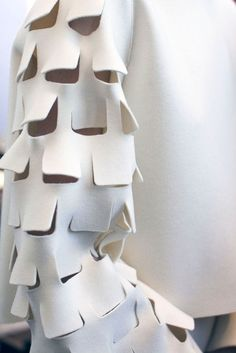 Sleeve detail with simple cuts to create texture; creative fashion design detail // Maison Rabih Kayrouz Fall 2015