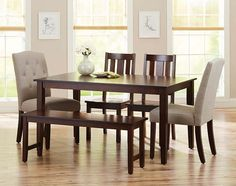 Better Homes and Gardens 6-Piece Dining Set with Parsons Tufted Dining Chairs & Bench