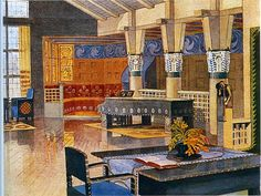 Eliel Saarinen, illustration of one of his interiors - circa 1902 Arts And Crafts House, Home Crafts, Historical Architecture, Art And Architecture, Art Nouveau, Exterior Rendering, Design Movements, Arts And Crafts Movement, Wall Patterns