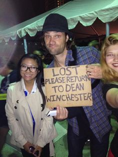If lost please return to Dean Winchester. #Jared #spn MAKING THIS FOR WHEN I DO MY CASTIEL COSPLAY IN MAY