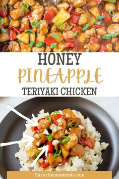 Forget the takeout — this Honey Pineapple Teriyaki Chicken recipe is packed with tender chunks of chicken, sweet and savory flavor, and is a hit with everyone in the family! It's so easy to make and it's on the table in 30 minutes! Tender chunks of chicken are combined with juicy pineapple and bell peppers in a sweet and savory honey teriyaki sauce. Teriyaki Pineapple Chicken, Chicken Teriyaki Recipe, Whole Food Recipes, Healthy Recipes, Veggie Wraps, Sandwiches For Lunch, Homemade Soup, Delicious Dinner Recipes, Veggies