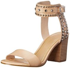 """Enzo Angiolini Women's Glittax Dress Sandal Manmade Imported Manmade sole Shaft measures approximately 5"""" from arch Heel measures approximately 3"""" Two-piece dress sandal featuring stacked heel and buckle closure at studded ankle straps Unadorned strap at toe  Price: $89.99 - $119.99"""