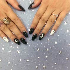 Black and white coffin nails with a crescent moon - Yelp Coffin Nails coffin nails black and white White Coffin Nails, Black Nails, Cute Nails, Pretty Nails, Holloween Nails, Hippie Nails, Witch Nails, Paris Nails, Acryl Nails
