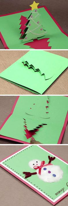 DIY Pop Up Christmas Card with Tree and Snowman | DIY Christmas Card Ideas for Families | DIY Christmas Cards for Kids to Make