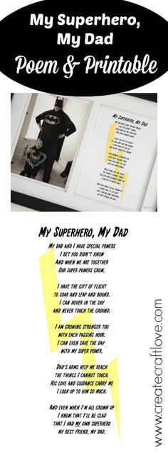 My Superhero, My Dad - FREE poem and printable!  Perfect for Father's Day!  #fathersday #printable