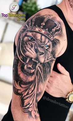 Tattoos 150 Lion male and female - Top Tattoos Lion Shoulder Tattoo, Lion Arm Tattoo, Lion Tattoo Sleeves, Lion Head Tattoos, Mens Lion Tattoo, Lion Tattoo Design, King Tattoos, Best Sleeve Tattoos, Top Tattoos