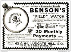 Original - Anzeige / Advertise 1903 : (ENGLISH) BENSON´S FIELD WATCH (UHREN) - 120 x 80 mm