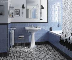 Masía Blue 7,5x15, London Negro 5x15, Quarter Round Negro 2,5x15, Skirting Negro 15x15 / Caprice Deco Metropolitan B&W. #trend, #tile, #design, #ceramic tile, #ceramic tiles, #encaustic, #kitchen, #kitchen tile, #old tile, #house, #architecture, #interior design, #interior designer, #architect, #bath, #modern, #traditional, #contemporary, #contractor, #builder, #handmade tile, #masia, #vanguard, #equipe, #equipe cerámicas, #ceramic materials, #white paste wall tile, #black and white