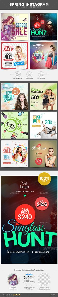 Spring Instagram Banners - 10 Designs  - Banners & Ads Web Template PSD. Download here: http://graphicriver.net/item/spring-instagram-banners-10-designs-/10908005?s_rank=1751&ref=yinkira
