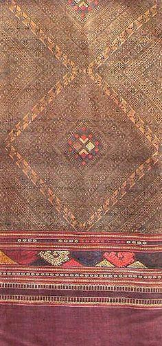 Laotian Embroidered Silk Textile. Laos, Thai Pattern, Thai Design, Thai Thai, Textile Fiber Art, Textile Fabrics, Fabulous Fabrics, Silk Skirt, Embroidered Silk