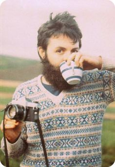 paul mccartney with a camera, tea, fair isle sweater, and a beard. these are a few of my favorite things.