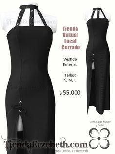 vestido largo negro gotico enterizo manga sisa cuello ojales bogota abierto sin economico barato oscuro online tienda ventas medellin cali