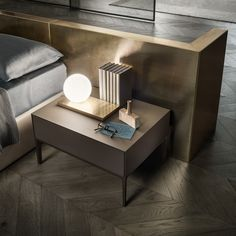 """""""Self Up"""" Bedside Table by Rimadesio.  Brown edition bedside with brown aluminum structure and caffè matt lacquered glass fronts."""