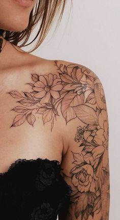 Shoulder Sleeve Tattoos, Quarter Sleeve Tattoos, Shoulder Tattoos For Women, Flower Tattoo Shoulder, Arm Tattoos For Women, Female Tattoo Sleeve, Back Of Shoulder Tattoo, Female Arm Tattoos, Classy Tattoos For Women