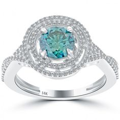 1.59 Carat Fancy Blue Diamond Engagement Ring 14k Gold Pave Halo Vintage Style - Blue Diamond Rings - Color Rings
