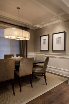 Beautiful Wall Trim Molding Ideas Addicted 2 Decorating® is part of Dining room wainscoting Now that I& changed direction with my living room, I& trying to figure out what to do with the walls - Grasscloth Dining Room, Dining Room Walls, Dining Room Lighting, Dining Room Design, Dining Area, Wall Paper Dining Room, Taupe Dining Room, Dinning Room Wallpaper, Drum Lighting