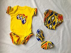 Yellow version Kente Inspired Baby Outfit Set by J*Diza Clothing Company Baby African Clothes, African Dresses For Kids, African Babies, Unique Baby Clothes, Baby Clothes Shops, Kids Dress Wear, Kids Wear, Baby Boy Outfits, Kids Outfits