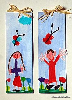 Un piccolo dono per il papà... Un segnalibro con il ritratto della sua bambina o del suo bambino per rendere le letture an...