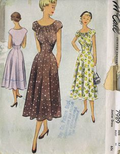 """50s VINTAGE DRESS ONE PC SEWING PATTERN MCCALL'S 7989 SIZE 17 BUST 35 HIP 38"""" CUT 