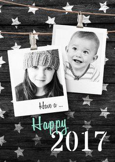 Hippe Nieuwjaarskaart  wit zwart met ruimte voor foto's, verkrijgbaar bij #kaartje2go voor €1,89