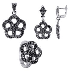 Sterling Silver Floral Design Earrings Pendant and Rings Jewelry Set