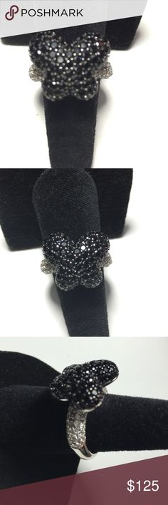 Black Spinel & White Zircon Butterfly  Ring Totally Gorgeous. 2.75ctw Black Spinel &.                 1.40ctw.  White Zircon   925. Sterling Silver Butterfly Ring.   The Black Spinels  The Luster & Brilliance of these 2 Exquisite Gemstones make this a Must Have. Spinel Magic Jewelry Rings