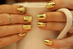 #wedding or festive Gold Nail Foil Wraps - apply and use hairdryer - or maybe buy some Chanel nail polish