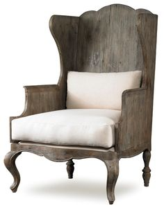 Luberon Chair antiqued pine chair in french country style Mr Brown home Shown in: Rustic Grey Pine / Ecru Linen Dimensions: x x Arm: COM: 4 yards Option: Frame Only Wood Chair, Side Chairs, Leather Dining Room Chairs, Furniture, Wing Chair, Chair, Pine Chairs, Home, Linen Wing Chair