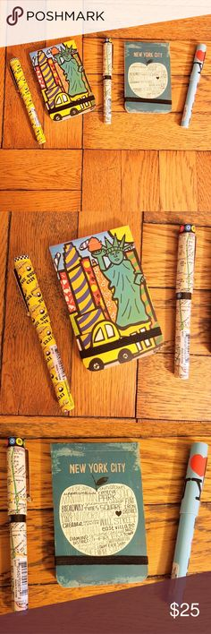 🚕🗽New York (5) Bundle🗽🚕 🔸 Brand NEW and super cute stationary set of 2 New York City cover design Notepads and 3 Pens featuring The NYC Subway Map, a Yellow Taxi Cab design, and a Light Blue 'I Love NY' with a red heart ♥️ 🔸 Cute gift idea or souvenir, and all pens work with no issues 👍 Other Accessories