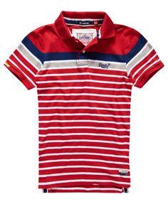 risk red Superdry Drift Stripe Polo Shirt Camisetas Masculinas 594b5afffcc14