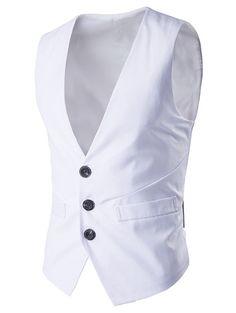 Single Breasted Mock Pocket Buckle Back Waistcoat #women, #men, #hats, #watches, #belts, #fashion