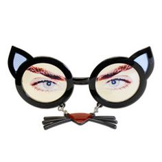 This pair of black cat style glasses with dangling nose and whiskers will be a great addition to your party outfit. Fancy Dress Glasses, Party Supplies, Round Sunglasses, Dangles, Cats, Black, Outfit, Style, Outfits