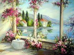 pinturas de paisajes con flores - Buscar con Google
