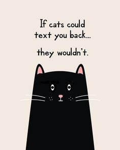 If Cats Could Text You Back They Wouldnt Funny Printable Quote Print Canvas - The post If Cats Could Text You Back They Wouldnt Funny Printable Quote Print Canvas appeared first on Gag Dad. Crazy Cat Lady, Crazy Cats, Funny Cats, Funny Animals, Cats Humor, Funny Horses, Cat Signs, Cat Character, Cat Decor