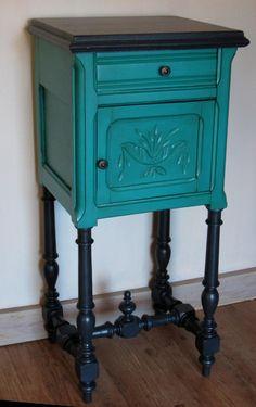 chevet Henri II anthracite et turquoise de créateur : Meubles et rangements par metamorphose-et-pigment