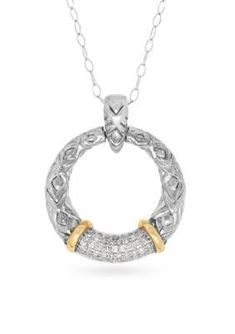 Belk & Co. Women Diamond Circle Pendant Necklace In 14K Gold And Sterling Silver - Silver - 17 In. #SterlingSilverNecklace