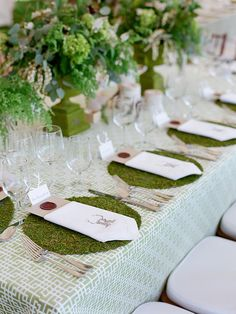 Play off of lush wedding decor with moss place settings for a unique addition to rustic table seating your guests will love.