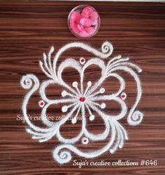 Rangoli Side Designs, Simple Rangoli Border Designs, Rangoli Patterns, Small Rangoli Design, Rangoli Ideas, Rangoli Designs With Dots, Beautiful Rangoli Designs, Mandala Design, Doodle Patterns
