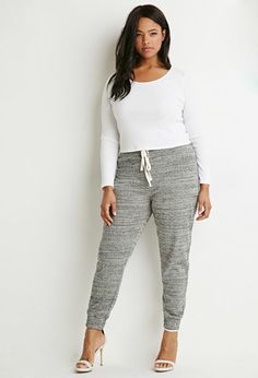 These are so comfy, and dressier than your average sweatpants or yoga pants. Love them!  Marled Drawstring Sweatpants | Forever 21 PLUS - 2000156665