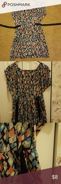 Printed Dress Dressy Patterented Dress 2 Pockets Black ties  Zipper Down the Back Worn twice years ago Great for semi-casual dinners or business casual Fits like a L Dresses