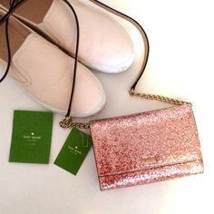 Kate Spade Crossbody Purse Kate Spade pink glitter cross-body purse with gold hardware and gold interior. Measures about 6.5 x 4.5 x 2in and can easily hold a wallet, iPhone and make up. kate spade Bags Crossbody Bags