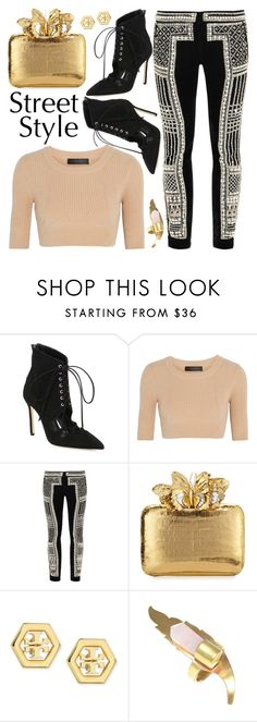 """Look # 632"" by lookat ❤ liked on Polyvore featuring Manolo Blahnik, Calvin Klein Collection, Balmain, Nancy Gonzalez, Tory Burch and laceup"
