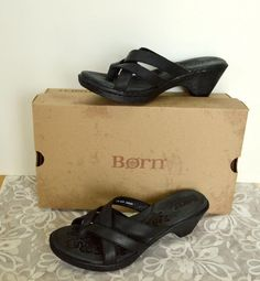 Born Monserrat Strappy Leather Thong Sandals 10/42 Black Summer Party Cute #Brn #HeeledThong #Casual