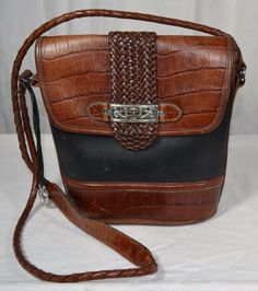 Brighton Brown & Black Croc Leather Flap Crossbody Messenger Bag Braided Strap #Brighton #MessengerCrossBody